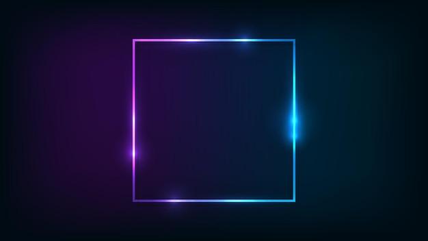 Quadratischer neonrahmen mit glänzenden effekten auf dunklem hintergrund. leere leuchtende techno-kulisse. vektor-illustration.