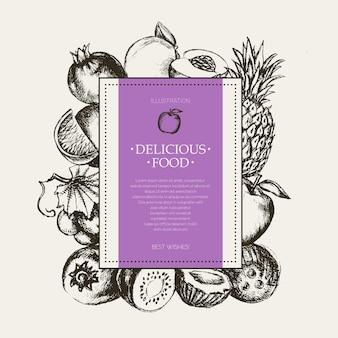 Quadratischer obstrahmen - moderne handgezeichnete designillustration des vektors mit exemplar für ihr logo. trauben, kirschen, ananas, erdbeere, kokosnüsse, apfel.