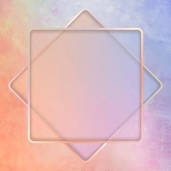 Quadratischer rahmen auf buntem hintergrund
