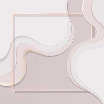 Quadratischer rahmen auf kurvengemustertem hintergrund