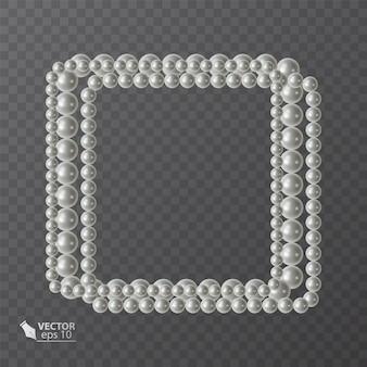 Quadratischer rahmen aus realistischen perlen