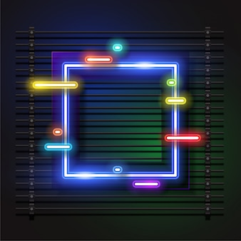 Quadratischer rahmen banner-design. neon-effekt