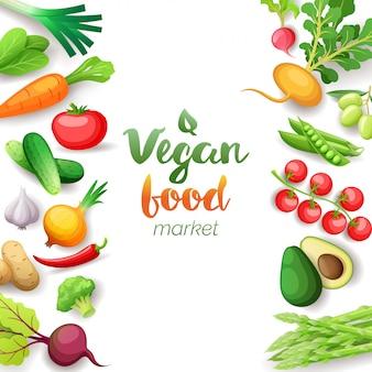 Quadratischer rahmen der gemüse-draufsicht. vegan food market menü design. buntes frisches gemüse, gesunde bio-lebensmittel