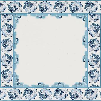 Quadratischer rahmen mit blumenmuster in marineblau
