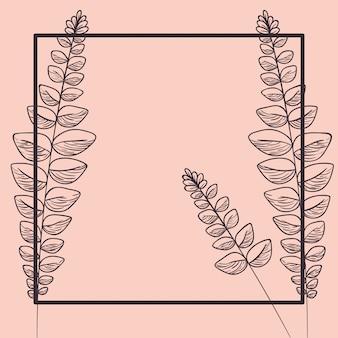 Quadratischer rahmen mit frühlingsblättern