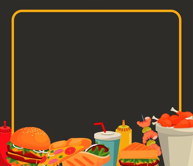 Quadratischer rahmen mit köstlicher fast-food-menüschablone