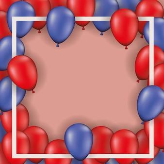 Quadratischer rahmen mit luftballons heliun rot und blau