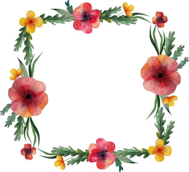 Quadratischer rahmen mit wilden wiesenblumen mohnblumen und kräutern