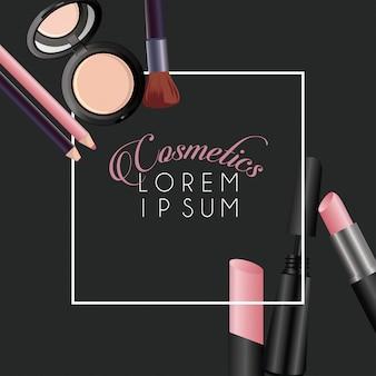 Quadratischer rahmenhintergrund der make-up-kosmetik