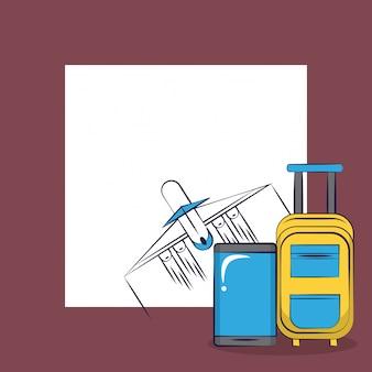 Quadratischer rahmenhintergrund der reisenden aufregenden reisekarte des tourismus