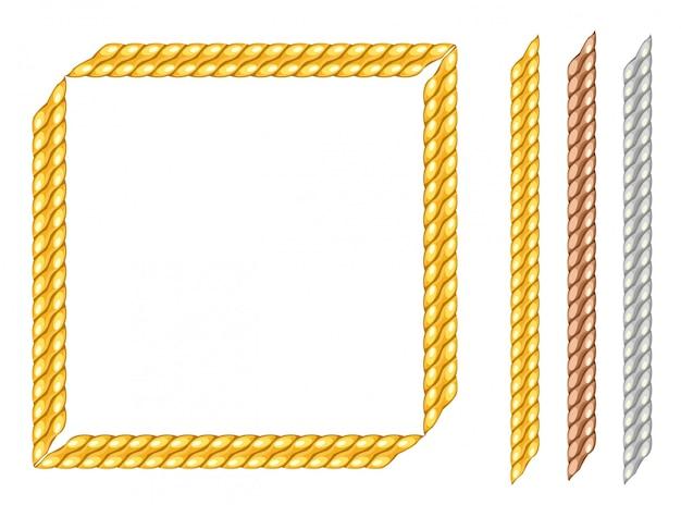 Quadratischer rahmenrahmen der goldenen kette.