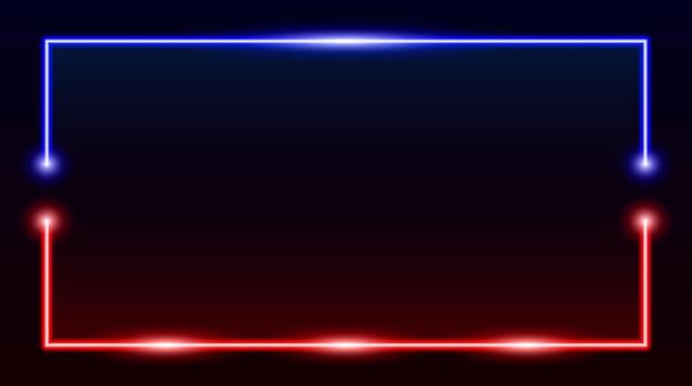 Quadratischer rechteckiger bilderrahmen mit zweifarbigem blauem und rotem neon