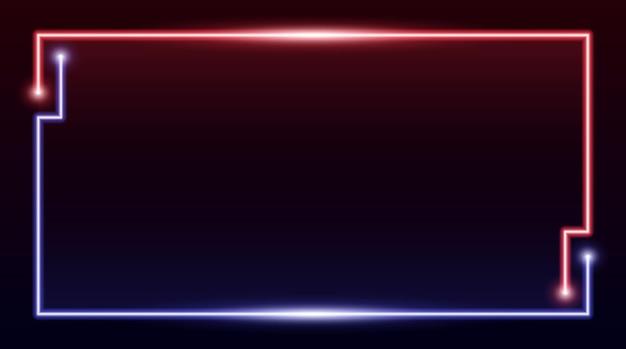 Quadratischer rechteckiger bilderrahmen mit zweifarbigem rotem und blauem neon