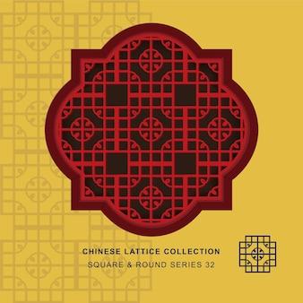 Quadratischer runder rahmen des chinesischen fenster-maßwerks der runden ecke