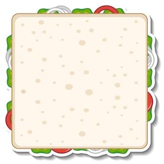 Quadratischer sandwichaufkleber auf weißem hintergrund