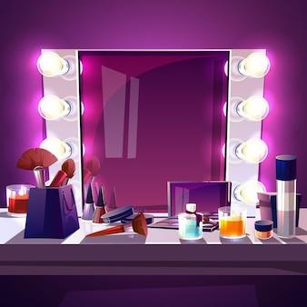 Quadratischer spiegel des makes-up mit lampenbirne, moderner silberner rahmen der karikaturillustration
