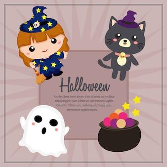 Quadratischer text des liebenswerten charakters halloweens