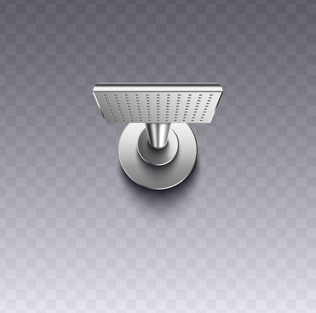 Quadratischer wandmontage-duschkopf mit realistischer silberner metallbeschaffenheit auf transparentem hintergrund, moderne duschkopfbefestigung für badezimmerwäsche - illustration.