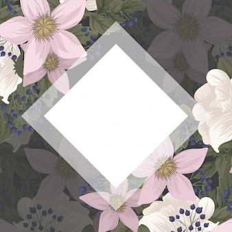 Quadratischer weißer rahmen mit blumen