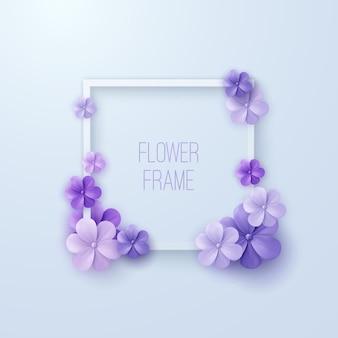 Quadratischer weißer rahmen mit violetten blüten