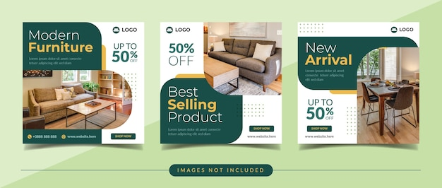 Quadratisches banner des modernen möbelverkaufs für postvorlage der sozialen medien