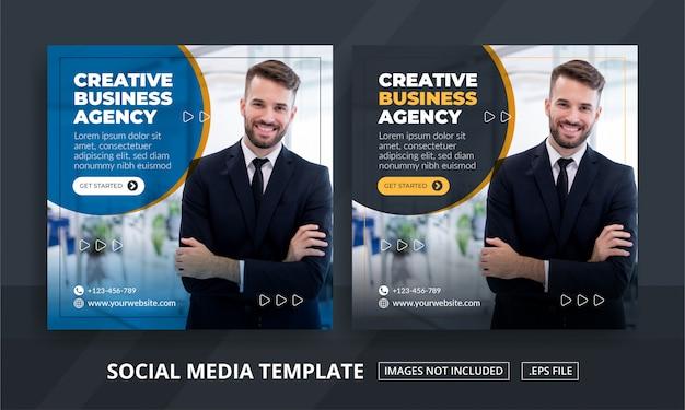 Quadratisches banner für social media post template themed business agency