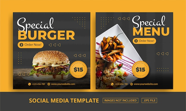 Quadratisches banner für social media post template themed food