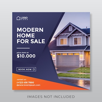 Quadratisches banner für wohnimmobilien für soziale medien