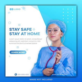 Quadratisches banner mit virenpräventionsthema für social-media-post-vorlage