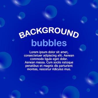 Quadratisches banner, seifenblasen auf einem blauen hintergrund. vorlage für text.