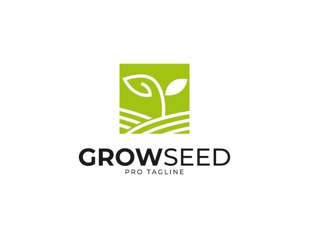 Quadratisches farmlogo mit sprossenpflanze