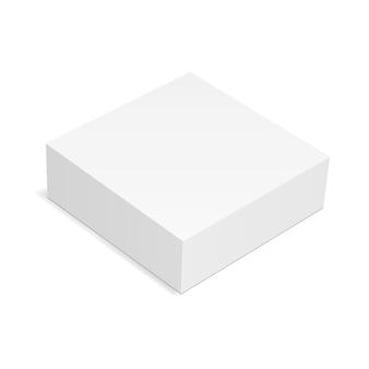 Quadratisches kastenmodell lokalisiert auf weißem hintergrund - hohe winkelansicht. illustration
