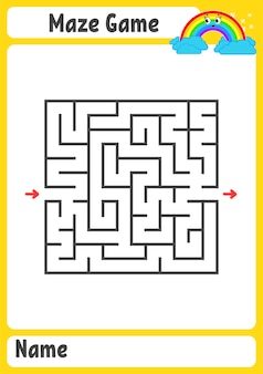 Quadratisches labyrinth arbeitsblatt für kinder