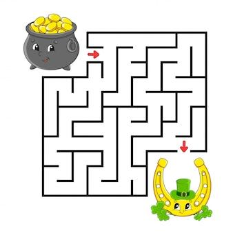 Quadratisches labyrinth. hufeisen und topf. spiel für kinder. puzzle für kinder. labyrinth-rätsel.