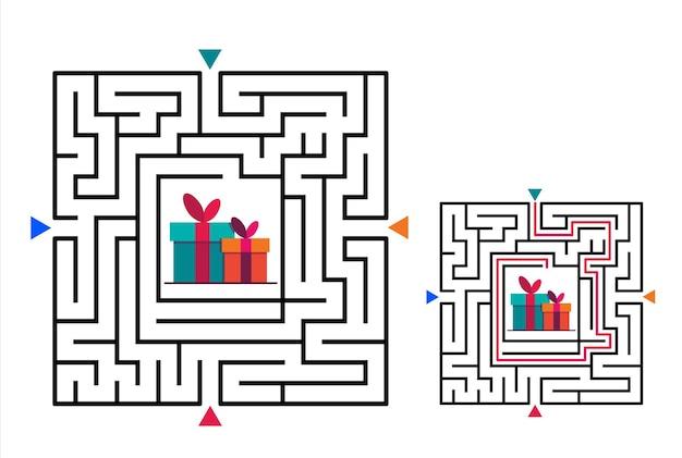 Quadratisches labyrinth-labyrinth-spiel für kinder. rätsel der labyrinthlogik.