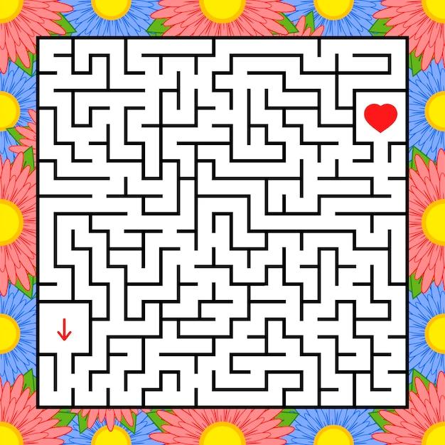 Quadratisches labyrinth pädagogisches arbeitsblatt