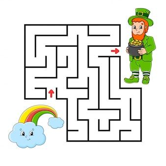Quadratisches labyrinth. spiel für kinder. kobold und regenbogen. puzzle für kinder.