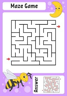 Quadratisches labyrinth spiel für kinder lustiges labyrinth bildung arbeitsblatt entwickeln aktivitätsseite