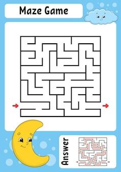 Quadratisches labyrinth spiel für kinder lustiges labyrinth