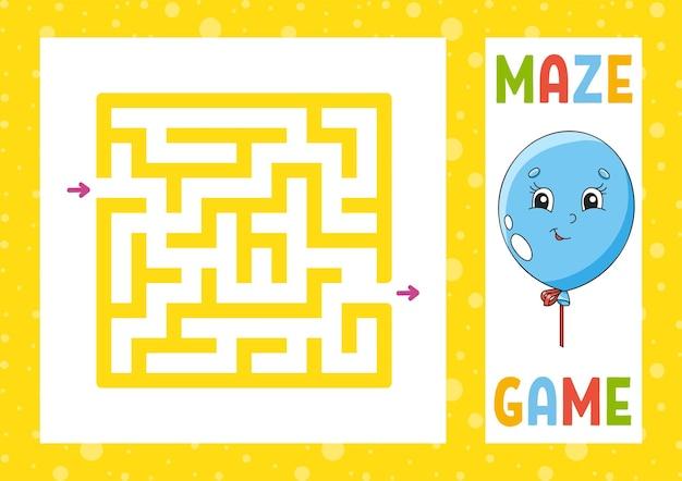 Quadratisches labyrinth spiel für kinder puzzle für kinder glücklicher charakter labyrinth rätsel