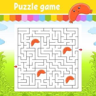 Quadratisches labyrinth. spiel für kinder. puzzle für kinder. labyrinth-rätsel.