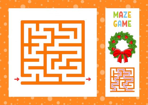 Quadratisches labyrinth. spiel für kinder. puzzle für kinder. weihnachtsthema. glücklicher charakter.