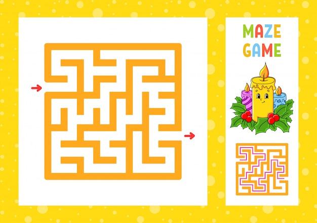 Quadratisches labyrinth. spiel für kinder. puzzle für kinder. weihnachtsthema.
