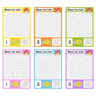 Quadratisches labyrinth. spiel für kinder. puzzle für kinder.