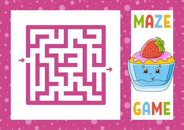 Quadratisches labyrinth spiel für kinder puzzle für kinder