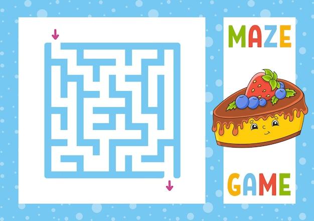 Quadratisches labyrinth spiel für kinder puzzle für kinder Premium Vektoren