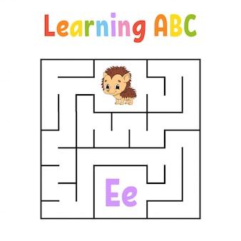 Quadratisches labyrinth. spiel für kinder. quadratisches labyrinth. arbeitsblatt bildung. igel tier. aktivitätsseite.