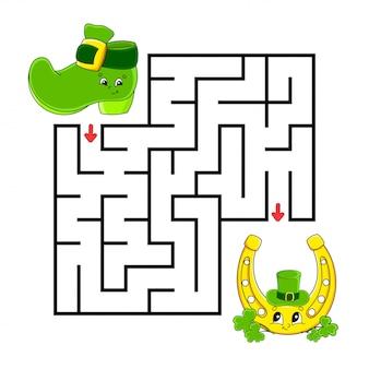 Quadratisches labyrinth. spiel für kinder. stiefel und hufeisen. puzzle für kinder. labyrinth-rätsel.