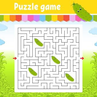 Quadratisches labyrinth. spiel für kinder.