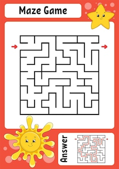 Quadratisches labyrinth-spiel für kinder